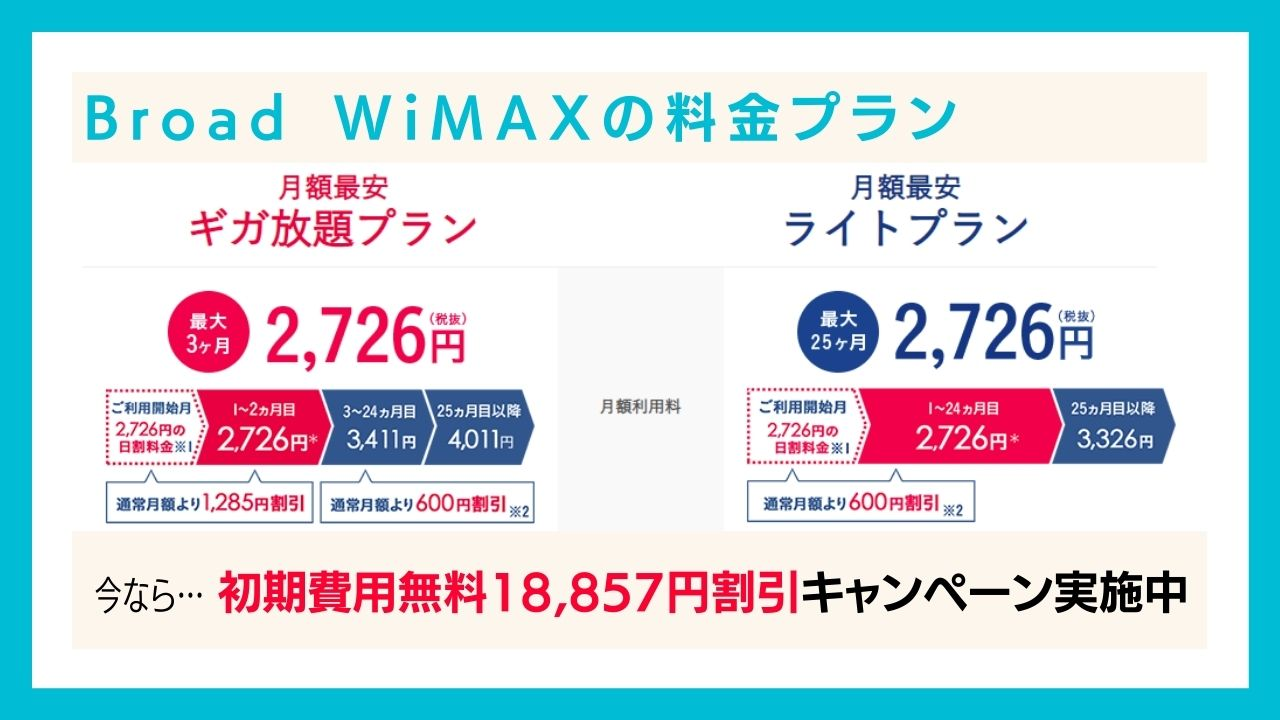 Broad WiMAX(ブロードワイマックス)の料金プラン