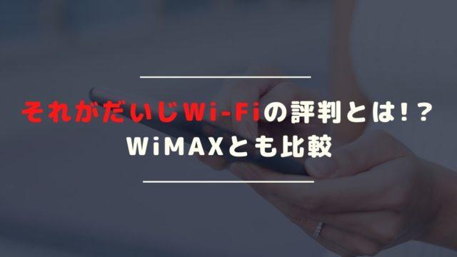 それがだいじWi-Fiの評判は?月額3250円で100GB使えるのは魅力!