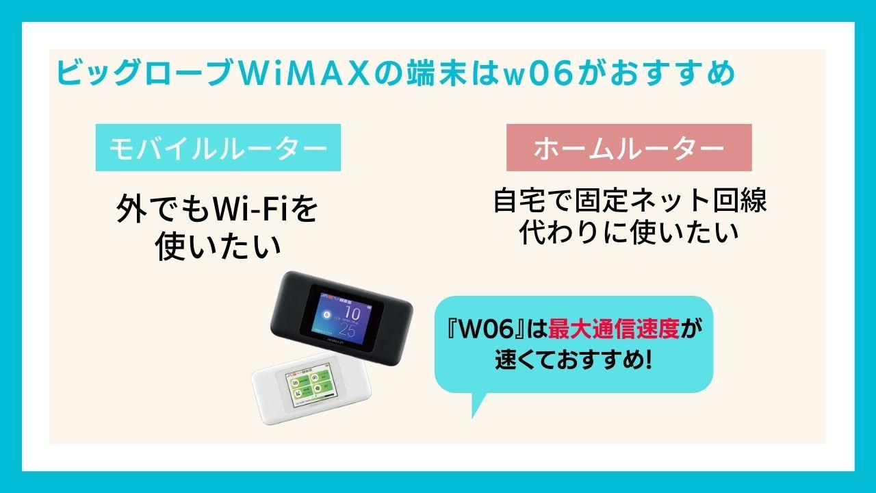 ビッグローブWiMAXの端末はw06がおすすめ!