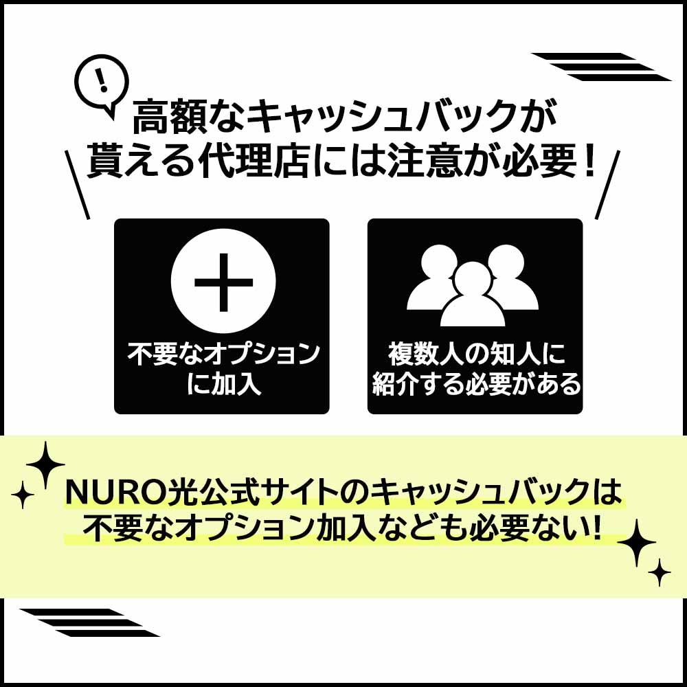 NURO光は代理店での申込みはおすすめできない|キャッシュバック条件に不要な条件が多い