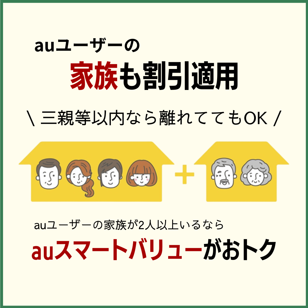 auスマートバリューは三親等以内の家族にも適用可能