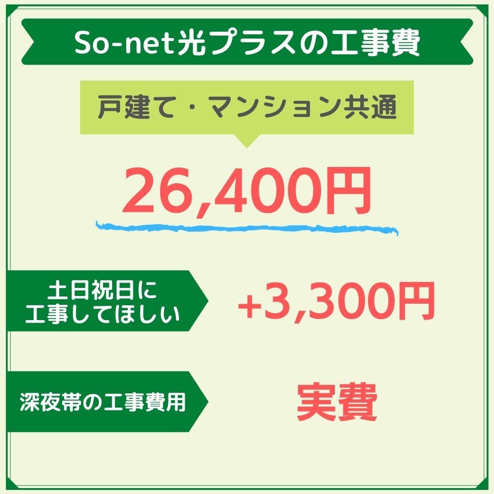 So-net光プラスの工事費用は26,400円!